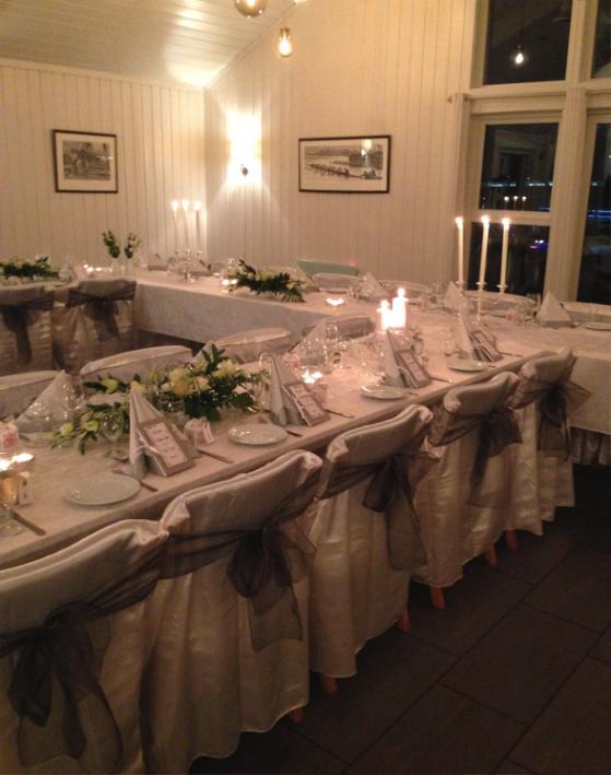 Bilde av et selskapslokale med hvite vegger med bord dekket til en flott bryllupsmiddag